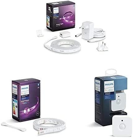 Philips Hue White and Color Lightstrip, Kit base Striscia LED Smart da 2m + Striscia LED Smart da 1m + Lighting Hue Sensore di Movimento per Accensione e Spegnimento Lampadine
