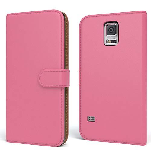 EAZY CASE Tasche kompatibel mit Samsung Galaxy S5/LTE+/Duos/Neo Schutzhülle mit Standfunktion Klapphülle Bookstyle, Handytasche Handyhülle mit Magnetverschluss & Kartenfach, Kunstleder, Pink