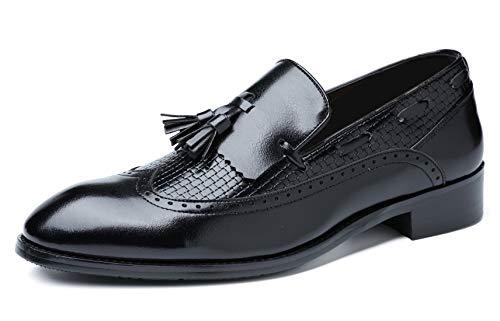 Mens Moccasins Slip-On Dress Shoe Tassel Leather Loafers Shoes Noble Smoking Slipper Vintage Loafer Black 10 US