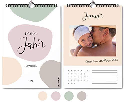 A4 Fotokalender, Wandkalender, Bastelkalender, immerwährend ohne Jahr, modern & wohnlich in Pastellfarben, idealer Kalender zum Selbstgestalten, Basteln & Verschenken