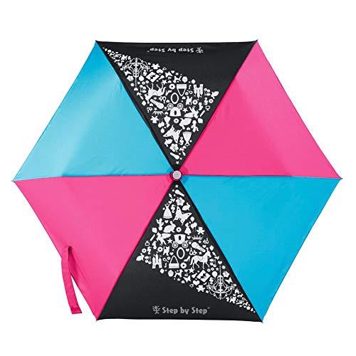Step by Step Regenschirm Pink & Blue, blau-rosa, Magic Rain Effect, Knirps für Kinder, inkl. Farbwechsel, Tasche und Handschlaufe, Mädchen & Jungen