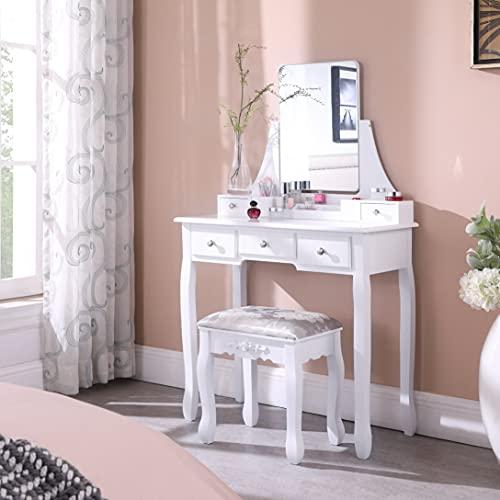 Salbay Schminktisch mit rahmenlosem Spiegel, Weiß, modern, 5 Schubladen, abnehmbarer Organizer, Hocker aus Kiefernholz, für Schlafzimmer, Ankleidezimmer