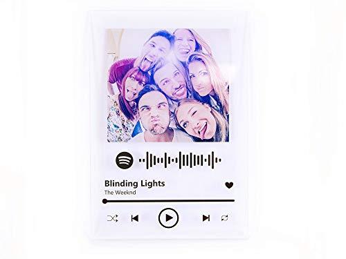 Oedim Placa Metacrilato Música Spotify Personalizado   Fabricado en Metacrilato 4mm   19,5 x 28,2cm   Efecto Espejo   con Código Spotify