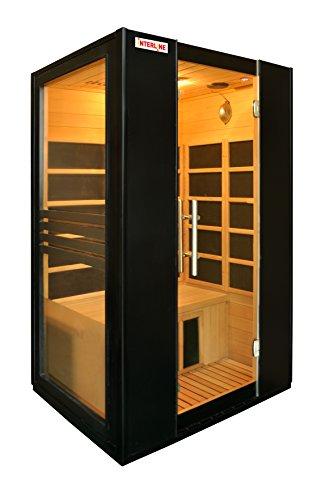Interline 45990510 Infrarot-Wärmekabine Vorder und Seitenwand Glas inklusive Bluetooth Spieler, schwarz