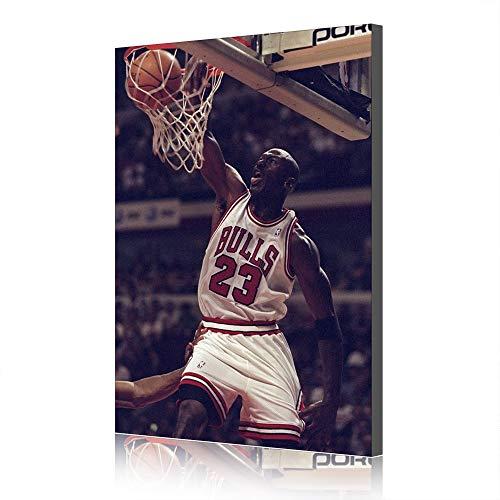 Grafica di Poster di Basket in Tela di NBA Michael Jordan per La Decorazione del Salotto (Prints-27,60x90cm)
