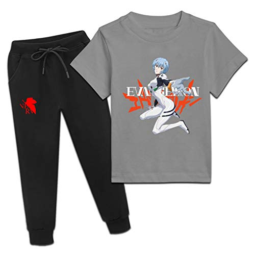 Vtilsiq Neon-Genesis-Evangelion Youth Activewear Sets Short Sleeve T-Shirt and Sweatpants 2 Piece Outfit Suit for Teens