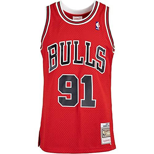 Mitchell & Ness Swingman Dennis Rodman Chicago Bulls 97/98 - Camiseta (talla L, color rojo)