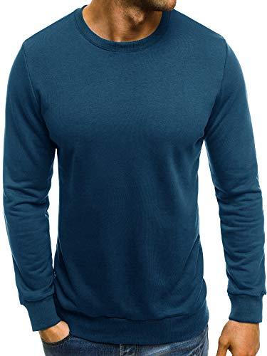 Ehpow Herren Sweatshirt Crew Neck Langarm Basic Pullover (X-Large, Dunkelblau)