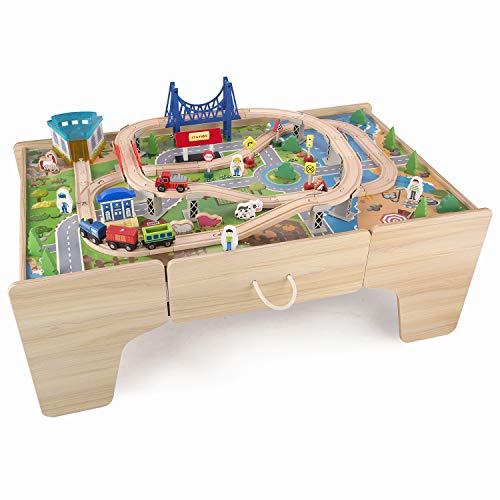 Hooga Train Table for Kids with 80PCs Accessories Large Wooden Toys with Storage Drawer