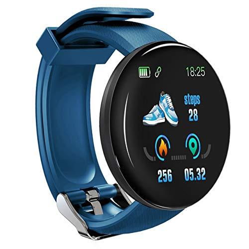 WFQ Watch Smart Watch mit Bluetooth 2019 für Herren, Runde Smartwatch mit Blutdruck für Frauen, wasserdichte Sportuhr Russische Föderation D18 Blau
