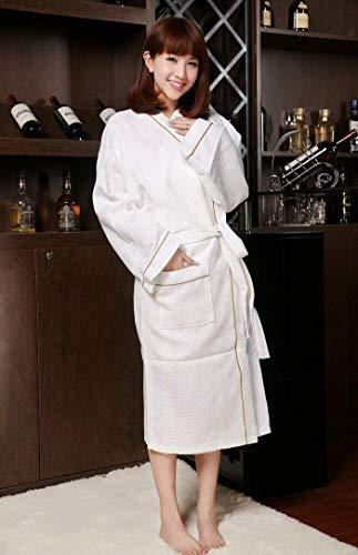 HeiPlaine Süße Nachtwäsche Hotel Hotel Clubhaus Baumwollbademantel Bademantel (Farbe: Weiß, Größe: XL) Sexy Nachthemd (Farbe : White, Größe : Medium)