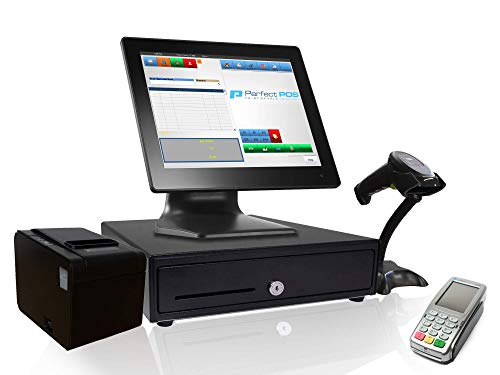 Retail Point of Sale System - Includes Touchscreen PC, POS Software (Retail POS Monthly), Receipt Printer, Scanner, Cash Register Drawer, and Perfect POS Credit Card Payments Pinpad
