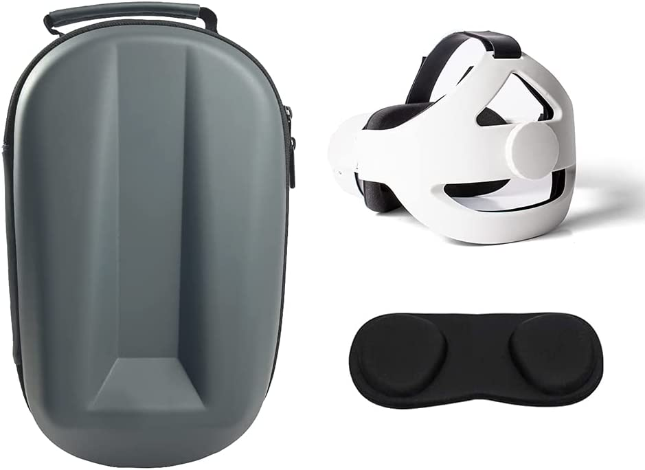 Carrying Case Head Strap and Lens Cover for Oculus Quest 2, All-in-One Oculus Quest 2 Accessories Set, Enhance Your VR Game Experience