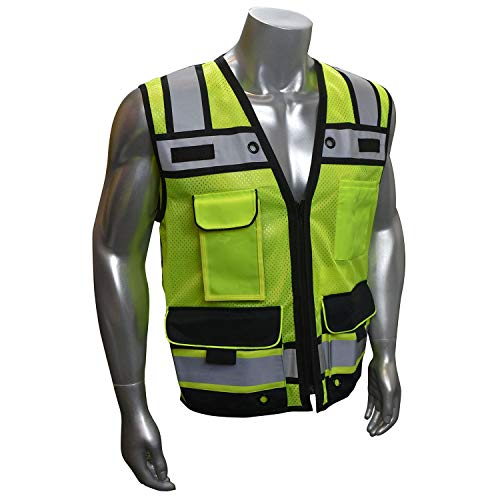 Vero1992 (B) Engineer Safety Vest High Visibility Reflective Safety Vest Mesh with Zipper and pockets (Medium, Yellow)
