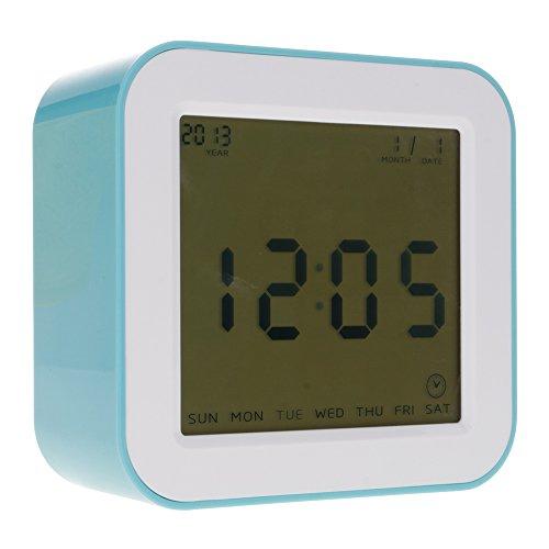 HuntGold Nouveau Creative 4 faces Digital Capteur de gravité rotatif temps Alarme Température Horloge LCD