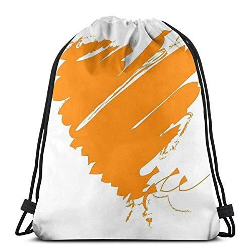 AOOEDM Drawstring Bags Holanda Holanda Oranje Heart King fútbol impermeable plegable deporte mochila bolsa de gimnasio saco mochila con cordón