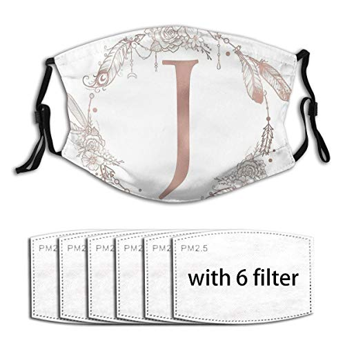 Gaoli Letter J Rose Gold Pink Initial Monogram Face Mouth Cover With 6 Filters