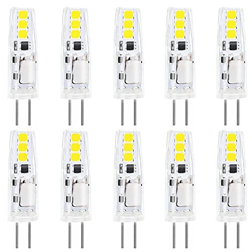 EKSAVE 2W G4 LED-Lampen, weiß, 150LM, Ersatz von 15W-Halogenlampen, G4-Mini-Kapselbirnen (10 Stück, 6000K)