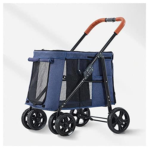 BTIR No-Ziprüttler Pet Stroller for Katzen/Hunde, Zipperless Eintrag, Easy One-Hand Falten, Luftreifen, Hundefahrradanhänger, Durable Räder (Color : Pink)