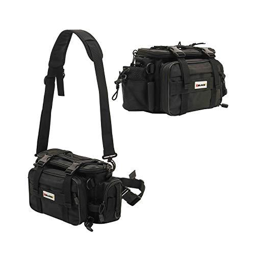 XBLACK Fishing Tackle Bags Portable Fishing Tackle Storage Bag Waterproof Lures Kit Waist Fishing Bag for Outdoor Fishing Hiking Camping Cycling (Black)