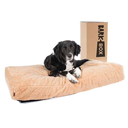 BarkBox Tufted Soft Foam Dog Bed, Orthopedic Crate Pillow Cushion for Dogs & Cats, Machine Washable with Removable Cover and Water-Resistant Lining, Includes Squeaker Toy