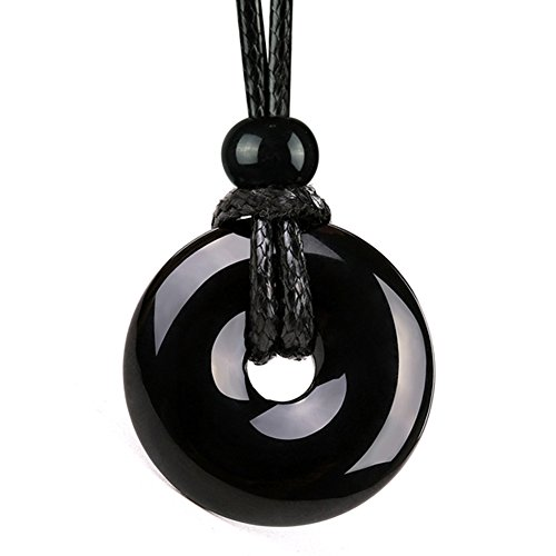 BestAmulets Amulet Lucky Coin Shaped Donut Black Agate Charm Magic and Protection Powers Pendant Necklace