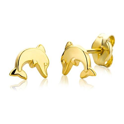 Miore Ohrringe Kinder Mädchen Gelbgold 9 Karat / 375 Gold Ohrstecker mit Delfin