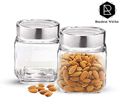 Rudra Villa Cube Storage Glass Jar, 580ml,2 Pc