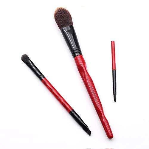 LSWL Limited Edition corps rouge Courbe plastique à long manche souple 3pcs synthétique Incliné poudre/Ombre Liner/Lèvres Pinceau (Color : ASMB Base Set)