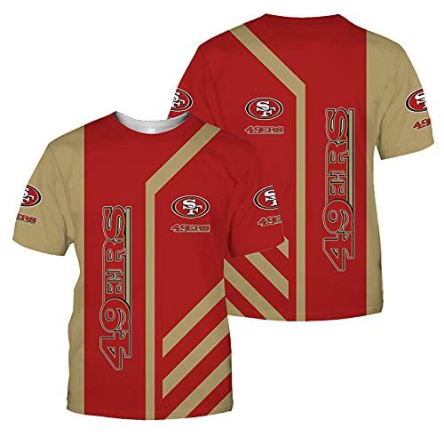 Xiaolimou 2021 Rugby Jersey Seattle Seahawks San Francisco 49ers Pittsburgh Steelers Fan T-Shirts Hombres Deportes Secado Rápido De Manga Corta Fútbol Americano Jerseys, Lavable A Máquina,Rojo,XXXXXL