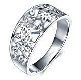 BORUO 925 Sterling Silver Ring, BoRuo High Polish Tarnish Resistant Comfort Fit Victorian Leaf Filigree Vintage Style Ring Size 7