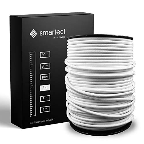 smartect Textilkabel Weiß - 5 Meter Vintage Lampenkabel aus Textil - 3-Adrig (3 x 0.75 mm²) - Stoffummanteltes Stromkabel für DIY Projekt
