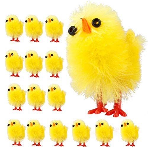 Bireegoo 60PCS Mini Easter Chicks Yellow Easter Decoration Toy Cute Yellow Plush Toy Spring Home Garden Party Holiday Decoration Gifts for Kids