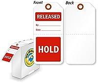 "Hold / Releasedタグwithファイバーパッチ、ポリオレフィンタグ、100タグ/ボックス、3"" x 6.25"""