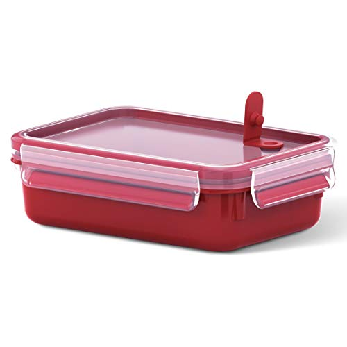 Emsa Mikrowellendose Clip & Micro 517772 | Mikrowellenventil | 0,8 L | Lunchbox | Integrierte Maßeinteilung | Made In Germany | Rot/ Transparent