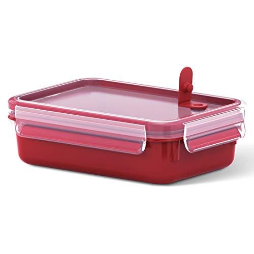 Emsa Mikrowellendose Clip & Micro 517772 | Mikrowellenventil | 0,8 L | Lunchbox | Integrierte Maßeinteilung | Made In Germany | Rot/ Transparent