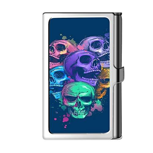 Diseño de la tarjeta de visita de la astilla, caja de crédito con nombre de cartera de acero inoxidable para hombres y mujeres-Skull