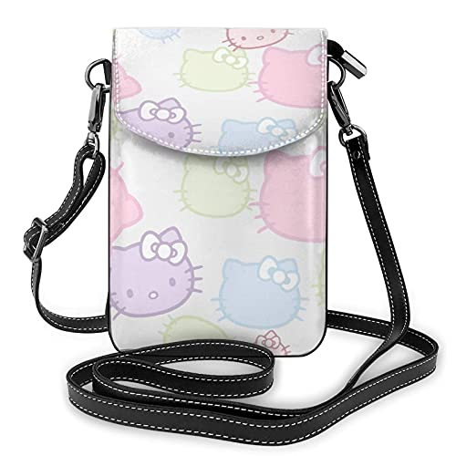 XCNGG Monedero pequeño para teléfono celular Women's Small Crossbody Bag with Shoulder Strap,Colorful Kitty cat face Small Cell Phone Purse Wallet with Credit Card Slots