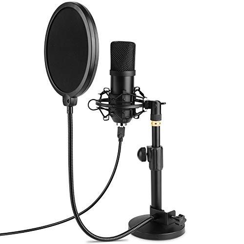 MVPower USB Mikrofon,PC Laptop Kondensator Mikrofon Aufnahmemikrofon mit Tischständer,Professionelle 192KHZ / 24 Bit Cardioid Radio Mikrofonsets mit Popschutz, Plug & Play