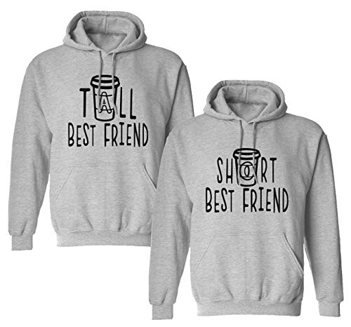 Best Friends Pullover für Zwei Mädchen 1 Stück Tall Short Beste Freunde Sister Pullover für 2 Schwester Hoodie Freundinnen Freundschafts Pulli BFF Geschenke (1 Stück - Short - Grau, S)