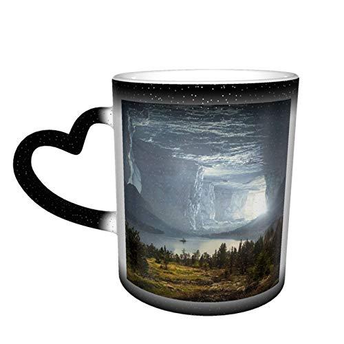 Magischer Kaffeebecher, Fantasie-Höhle, mystischer Steinstein, personalisierter Druck, Keramik, heiß, hitzeempfindlich, für Familie, Liebhaber, Freunde, Geschenk