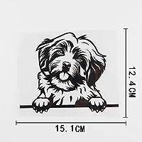 車のステッカーの装飾 15.1CMX12.4CMおかしいハバニーズ犬チラッと覗くデカールビニール車ステッカーブラック/シルバー (Color Name : Black)