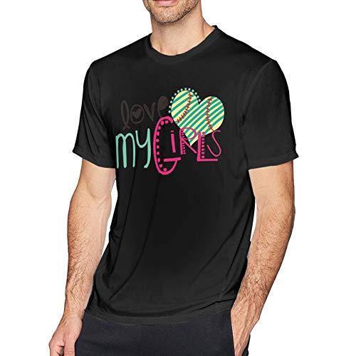 Onita Maglietta a maniche corte da uomo Love For The Softball, maglietta casual (3XL, nero)
