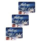 Netac microSD 64GB 3枚セット microSDXC UHS-I 最大100MB/s V30 U3 A1 C10 Full HD Nintendo Switch対応 メーカー正規品認証 - P50064X3