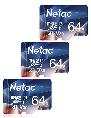 Netac Tarjeta de Memoria de 64GB, Tarjeta Memoria microSDXC(A1, U3, C10, V30, 4K, 667X) UHS-I Velocidad de Lectura hasta 100 MB/s, Tarjeta TF para Móvil, Cámara Deportiva, Gopro, Dashcam(3 Packs)