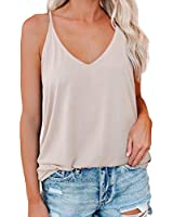 VICHYIE Spaghetti Strap Tank Top Women Casual Summer Sexy Malist Flowy Sleeveless Workout Shirts Loose Blouses Tops Beige M