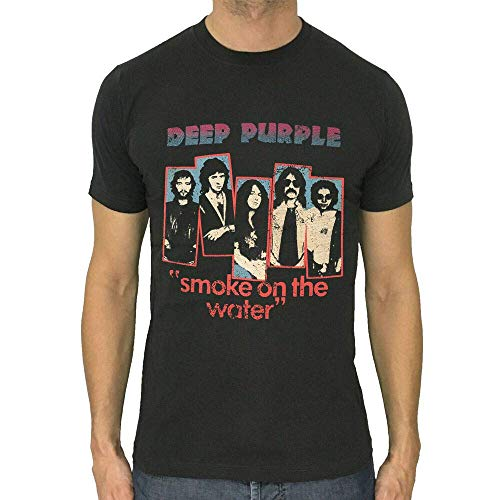 Camiseta Deep Purple Smoke on The Water Rock Retro Hombres Camisa Gris Oscuro S a 2XL