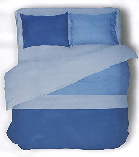 Parure Letto Polo sacco Copripiumino + Federe Double Reversibile tinta unita 100% Cotone (224 - Blu / Azzurro, Letto Singolo una piazza)