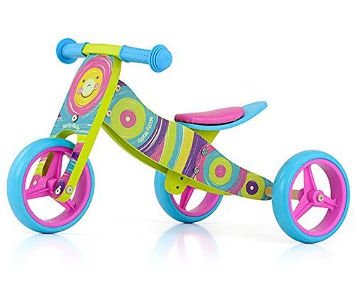 JAKE bicicletta 2 in 1 tre ruote e bicicletta a spinta in legno, giocattolo a spinta per bambini con ruote in gomma, Modello:Jake Rainbow