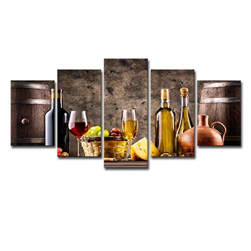 5 platos vino uva queso botella seca cesta de mimbre decoración del hogar arte